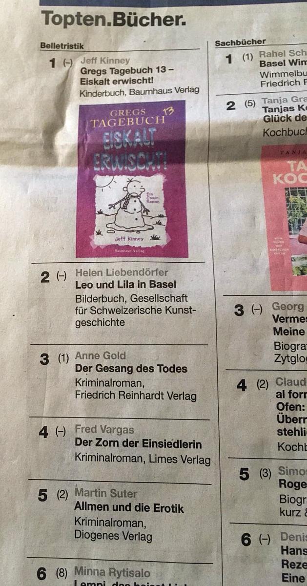 Bild Zeitungsausschnitt mit TopTen des Buchhandels